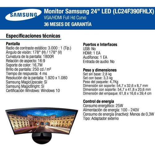 monitor curvo samsung led 24 slim f390 full hd vga hdmi