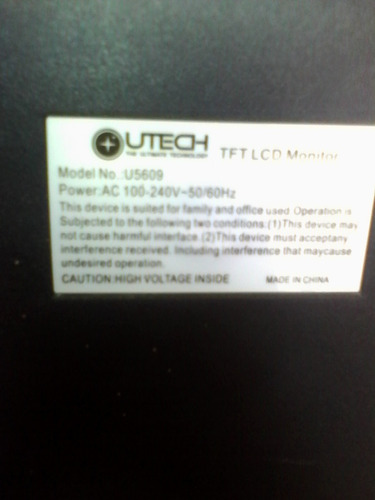 monitor lcd utech modelo u5609 usado