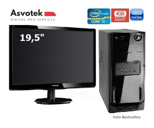 monitor led 19.5 + cpu intel core i5 3.4ghz 4gb ram hd500gb