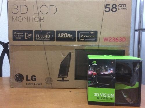 monitor lg flatron w2363d 120hz 3d lentes 3d nvidia vision