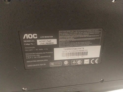 monitor marca aoc led 15 pol. e1670swu. usando poucas vezes