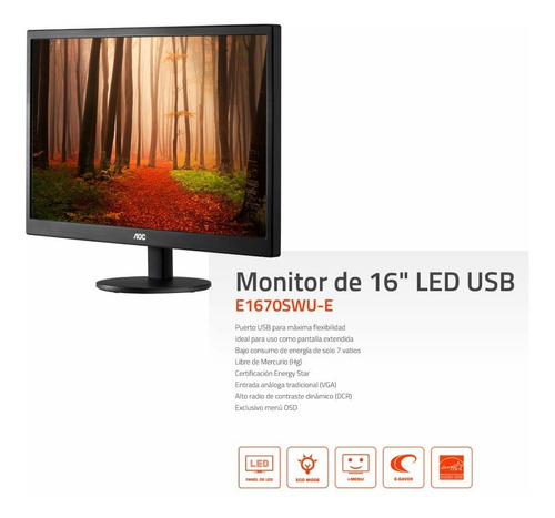 monitor portatil pc notebook aoc 15.6 carga x usb cuotas