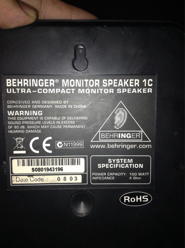 monitores de estudio behringer  por 1 par. (2uni) c/negro.