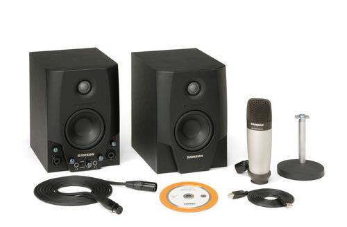 monitores estudio samson sgt4 pro + microfono condenser c01