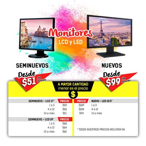 monitores seminuevos baratos desde $51 de 17 y 19 pulgadas
