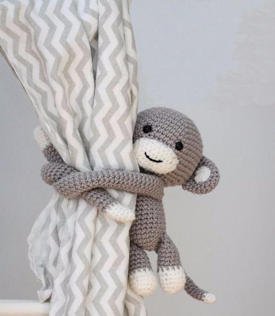 Monitos Amigurumi Para Cortinas / 100% Tejido Al Crochet - $ 250,00 ...