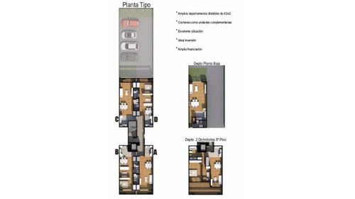mono-ambiente divisible con balcón, 42 mts 14 e 33 y 34