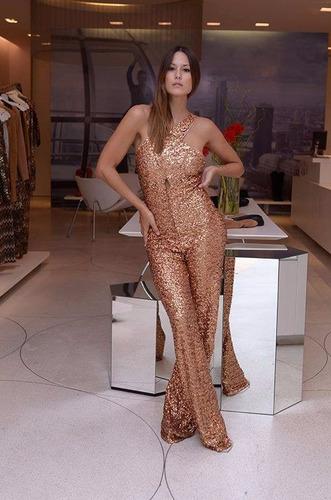 mono enterito catsuit pantalon lentejuelas dorado vestido