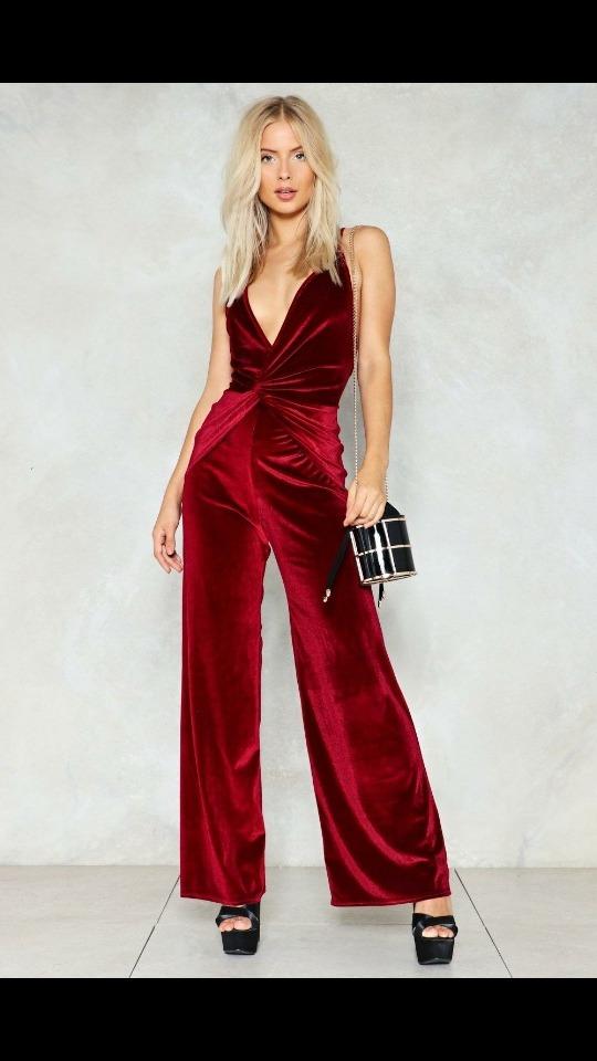 elige auténtico vendido en todo el mundo especial para zapato Mono Enterito Red Velvet Terciopelo Rojo Oscuro Chupin Largo
