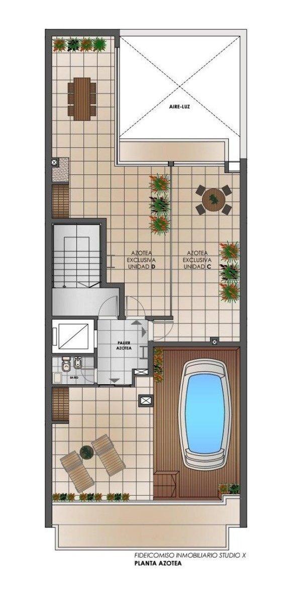 monoambiente a estrenar - terraza con parrillero - solarium - espejo de agua