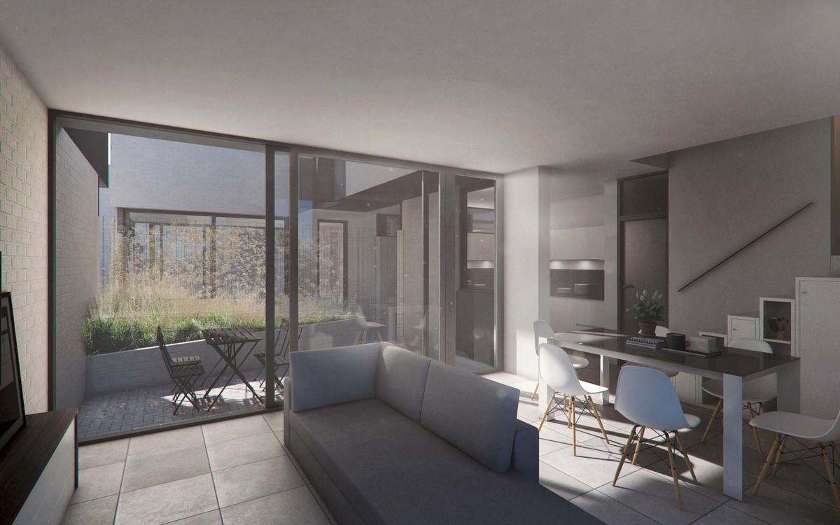 monoambiente con balcon y patio en pichincha