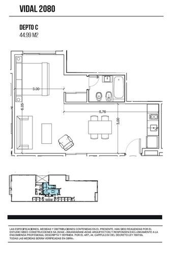 monoambiente en l 44.99 m2 en pozo, amenities   belgrano