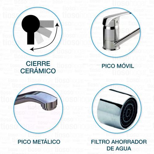 monocomando cocina hydros ipanema cierre ceramico shift 105311 40mm cierre ceramico canilla pico largo