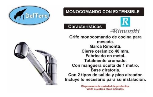 monocomando de cocina mango extensible - garantía rimontti