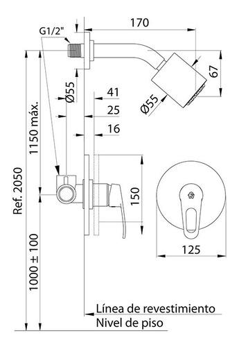 monocomando para ducha sin transferencia arizona 108/b1cr fv