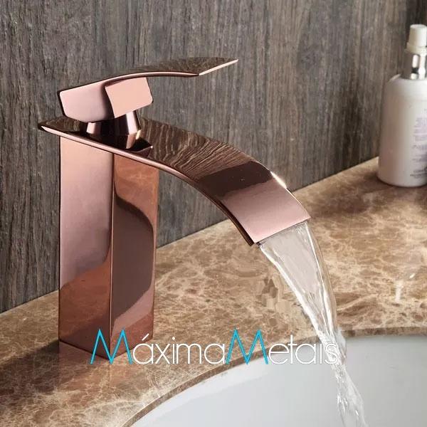 Monocomando Torneira Banheiro Dourada Rose Kronos Rosegold