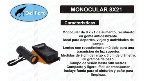 monocular 8x21 goma antideslizante - incluye funda y paño