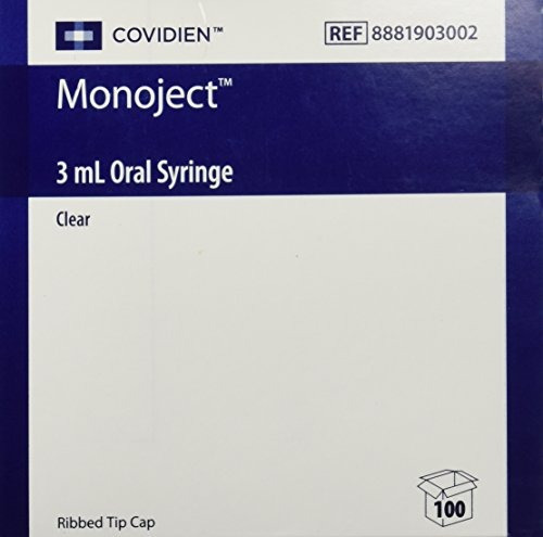 monoject oral syringe 3ml clear - caja de 100