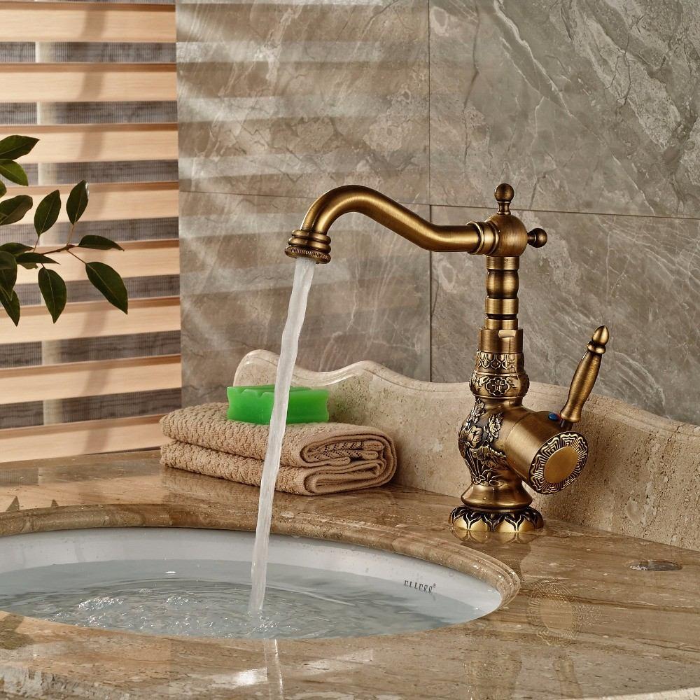 Monomando llave lavabo ba o bronce antiguo decorado 8a12dh for Llave monomando bano