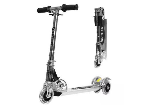 monopatin aluminio 3 ruedas c/luces reforzado plegable bolso