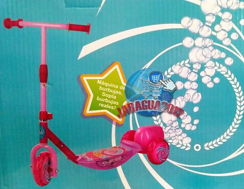 monopatín con luces música y maquina burbujas juguete