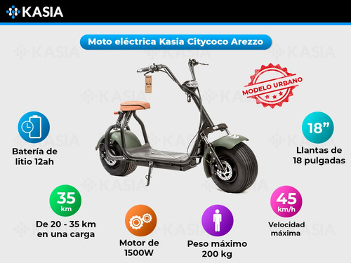 monopatin electrico kasia citycoco arezzo clasica 1500w
