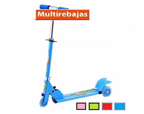 monopatin infantil scooter 3 ruedas con luces + timbre