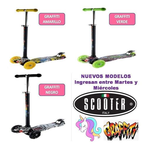 monopatin scooter 4 ruedas graffiti luces reforzado palermo