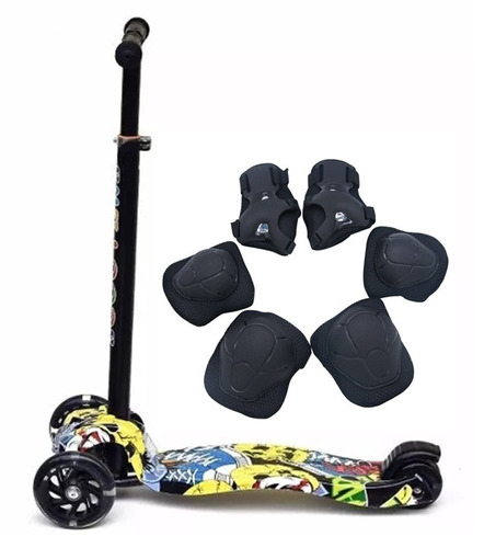 monopatín scooter 4 ruedas graffiti + protecciones palermo