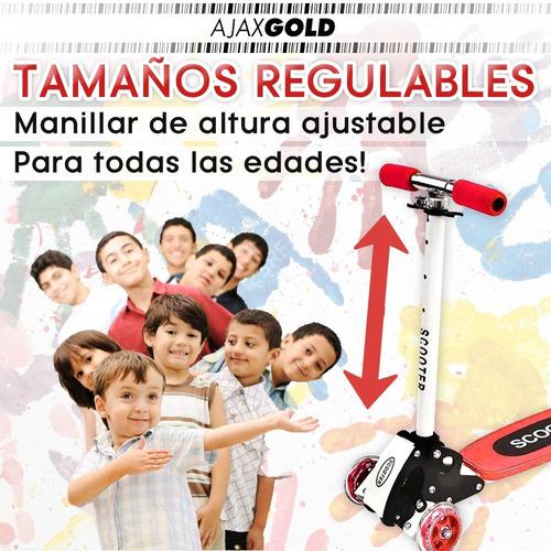 monopatin scooter 4 ruedas plegable reforzado niños colores