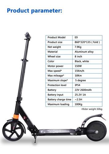 monopatín scooter eléctrico 2600mha batería 8  ruedas 15km/h