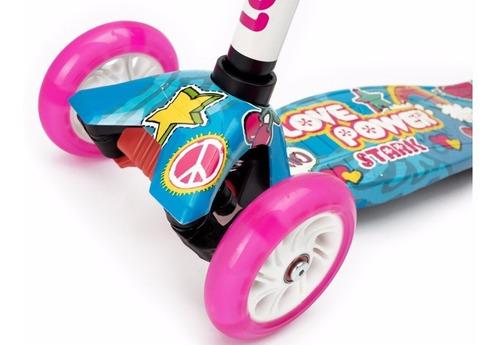 monopatin scooter stark love y zombies con luz  tres ruedas