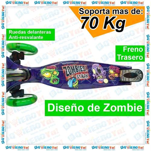 monopatin stark 4 ruedas luces nene nena power love y zombie