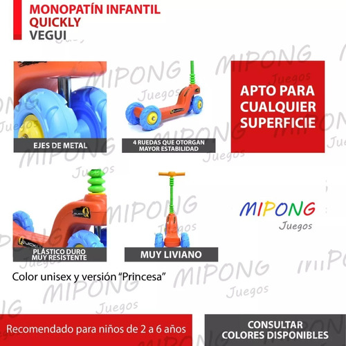 monopatines quickly infantiles vegui 4 ruedas mipong