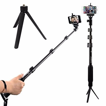 monopod selfie stick + control + tripode / camara re