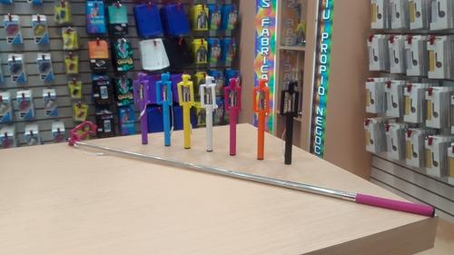 monopod selfie stick de cable sin bateria mayor y detal 1mt