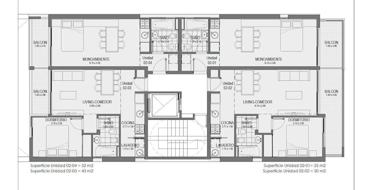 monos  1 dormitorio - pileta