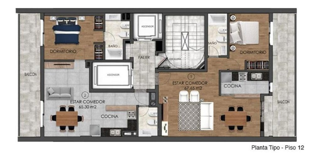 monos, 1 y 2 dormitorios