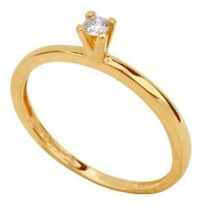 monreale anel solitário de ouro 18k com diamante de 5 pts