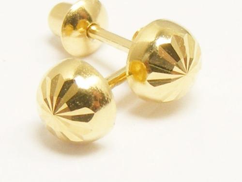 monreale brinco de ouro 18k meia bola trabalhada super brilh