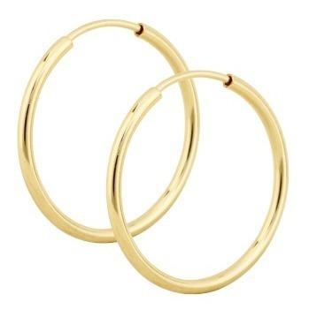monreale grossa argola redonda de ouro 18k - 750 fio grosso