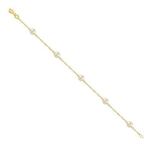 monreale linda pulseira de ouro 18k-750 com perolas 5mm