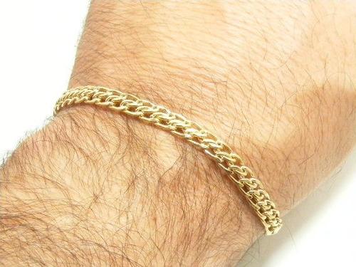 monreale linda pulseira dupla em ouro 18k elos grumet