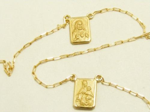 monreale lindo escapulário de ouro 18k-750 em promoção