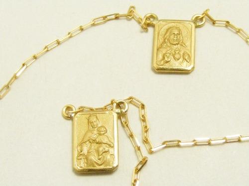 monreale lindo escapulário em ouro 18k 60cm
