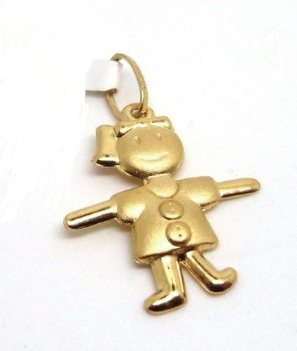 monreale lindo  pingente menina em ouro 18k 2 tons