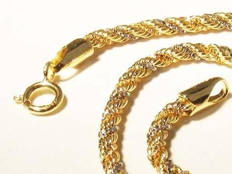 monreale maravilhosa pulseira corda em 3 tons de ouro 18k