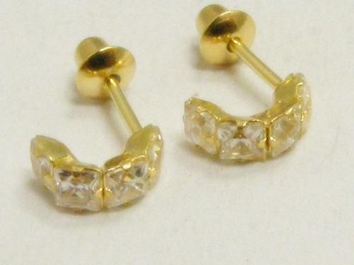 monreale meia argolinha de ouro 18k com cristais de quartzo