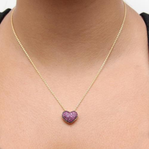 monreale pingente de ouro 18k  coração de rubis