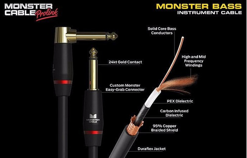 monster cabo cable para bajo largo 6.4m 21 pes flete gratis